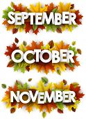 September, October, November Banners With Maple And Birch Leaves. poster