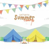 Summer Camp Poster Or Banner With The Yellow & Blue Camp On Mountain Background And Flag Illustratio poster