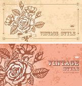 two romantic floral backgrounds with vintage roses