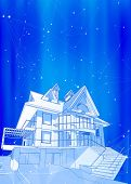 A modern house on a blue background surrounded by digital networks - an illustration of a smart eco- poster