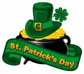 stock photo of leprechaun hat  - Patrick day background with gold coins and leprechaun hat - JPG
