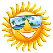 stock photo of sunburn  - Cheerful sun in sunglasses with the reflection of a tropical island - JPG