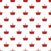 Red Shopping Basket Pattern. Cartoon Illustration Of Red Shopping Basket Pattern For Web poster