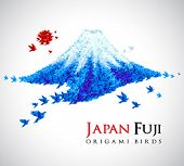 Fuji shaped from origami birds, Japan national symbol. Great for social, culture, travel creative id