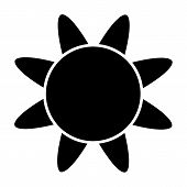 Sun Solid Icon. Stylized Sun Vector Illustration Isolated On White. Sunshine Glyph Style Design, Des poster