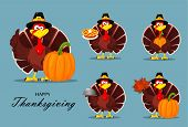 Happy Thanksgiving, Greeting Card, Poster Or Flyer For Holiday. Thanksgiving Turkey, Set. Vector Ill poster