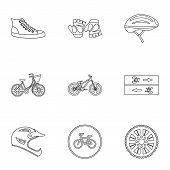 Race Cycling Icons Set. Outline Illustration Of 9 Race Cycling Icons For Web poster