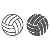 Volleyball Line And Glyph Icon, Game And Sport, Ball Sign, Vector Graphics, A Linear Pattern On A Wh poster