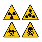 Yellow Triangle Warning Biohazard, Radioactive And Toxic Sign Set. Biohazard, Chemical Hazard Warnin poster