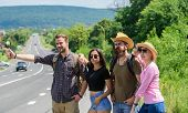Family Weekend. Begin Great Adventure In Your Life With Hitchhiking. Company Friends Travelers Hitch poster