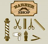 stock photo of barber  - Barber Shop or Hairdresser icons and signpost - JPG