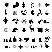 stock photo of christmas bells  - Silhouettes of  Different  Christmas icon - JPG