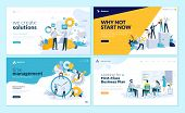 Set Of Web Page Design Templates For Business Solutions, Startup, Time Management, Planning And Stra poster