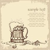 stock photo of beer mug  - card design with woody beer mug and place for text - JPG