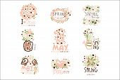 Spring, 1 May Set For Label Design. Spring Holidays, First May, International Labor Day Vector Illus poster