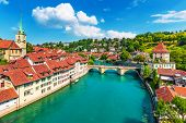 Scenic Summer View Of The Old Town Architecture Of Bern With The Bridge Untertorbryukke Over Aare Ri poster
