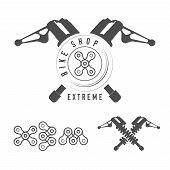 Bicycle Shop, Extreme Bikes Emblem. Crossed Rear Shock Absorbers, X Sign Made Of Bicycle Chain. Mono poster
