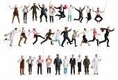 Collage Of Different Professions. Group Of Men, Women In Uniform Running At Studio Isolated On White poster