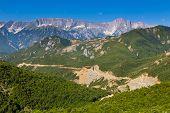 Scenic Landscape View In Melesin Mountain In Summer Day. Leskovik Area, Albania, Europe. poster