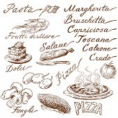 picture of agaricus  - italian food doodles - JPG