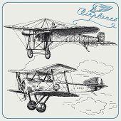 Постер, плакат: рука нарисованные самолеты