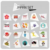 Japan Icon Set. Japanese Kite Japanese Cranes Torii Gate Bonsai Tree Koi Fish Japanese Ninja Sumo Wr poster