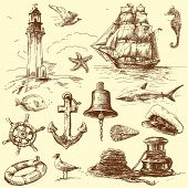 stock photo of seahorses  - hand drawn nautical collection - JPG
