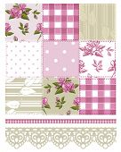 stock photo of taupe  - Patchwork Floral Rose Pattern and trims - JPG