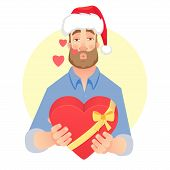 Businessman In Santa Claus Hat. Man Gives A Gift. Air Kiss. Gift Giving Illustration poster
