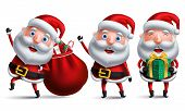Santa Claus Christmas Vector Character Set Carrying Bag Of Christmas Gift And Presents And Giving Gi poster