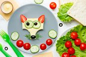 Funny Animal Face Sandwich For Children, Fox Sandwich With Cheese And Strawberry poster