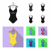 Different Kinds Of Swimsuits. Swimsuits Set Collection Icons In Black, Flat Style Vector Symbol Stoc poster