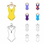 Different Kinds Of Swimsuits. Swimsuits Set Collection Icons In Cartoon, Outline Style Vector Symbol poster