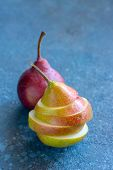 Tasty Ripy Juicy Colorful Juicy Pears On Cement Background poster