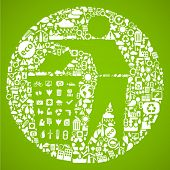 pic of sustainable development  - trash symbol made from little ecology icons  - JPG