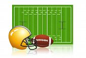 stock photo of football field  - American football field with ball and helmet - JPG