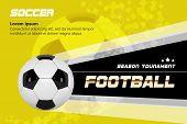 Soccer Poster Design Vector. Football Ball. Design For Sport Bar Promotion. Tournament, Championship poster