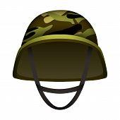 Modern Camo Army Helmet Mockup. Realistic Illustration Of Modern Camo Army Helmet Mockup For Web Des poster