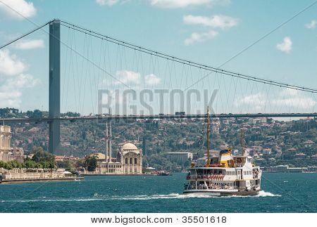 Iconic shot of Istanbul Bosphorus Bridge, Ortakoy Mosque and the ship