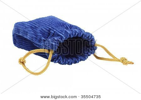 Open Empty Corduroy Fabric Pouch Lying on White Background