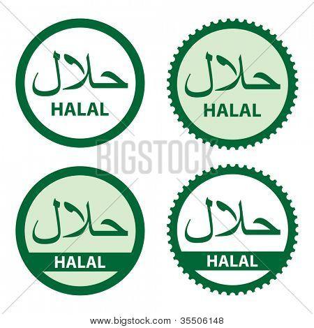 Halal product labels.