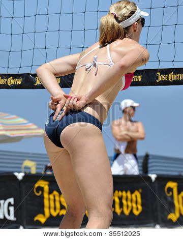 HERMOSA BEACH, CA - JULY 21: Sarah Day  competes in the Jose Cuervo Pro Beach Volleyball tournament in Hermosa Beach, CA on July 21, 2012.