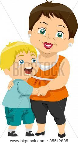 Illustration Featuring a Grandma and Her Grandson