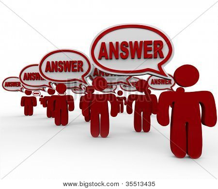 Many people in a crowd share answers to a question with speech bubbles each containing the word Answer to talk and provide their solution to a problem or give their opinion