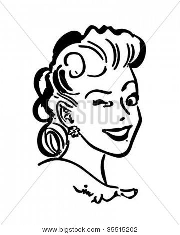 Winking Gal - Retro Clipart Illustration