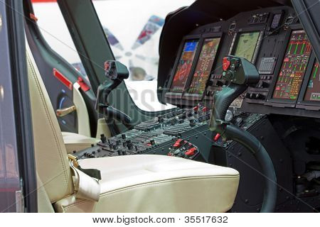 Helicopter cabin with panel, inside
