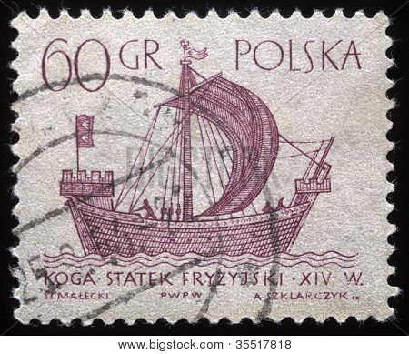 POLAND - CIRCA 1950s: A vintage postage stamp printed in Poland shows a vintage ship, circa 1950s