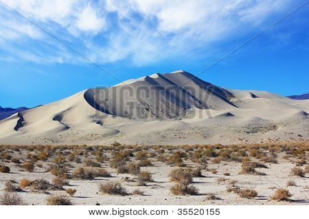 Early morning in the desert. Cold sands of the famous Eureka - a giant sand dune in California.