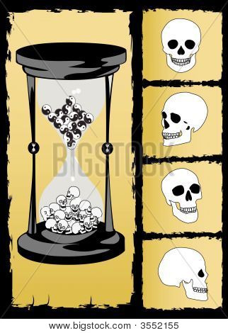 The Concept Hourglass And Skull Vector Image