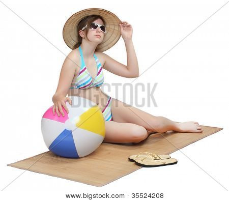 Young girl in swimsuit and uv protection gear on white background.